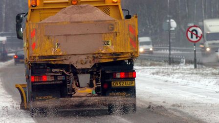 A gritter at work on Suffolk's roads..