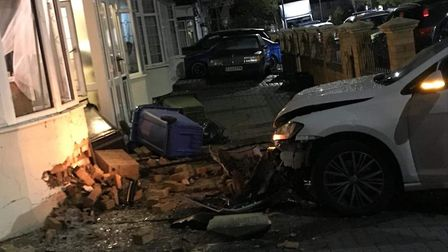 A car hit a house in Gants Hill. Picture: Nargis Jahan-Uddin