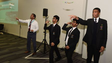 Kingsford Community School trying to fly their plane models. Picture: Ken Mears