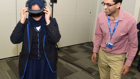 Aysha Patel from Ursuline Girls School in Ilford tries out a virtual reality headset. Picture: Ken M