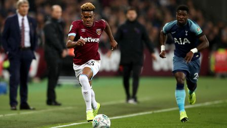 West Ham United's Grady Diangana (left) during the Carabao Cup, Fourth Round match at the London Sta