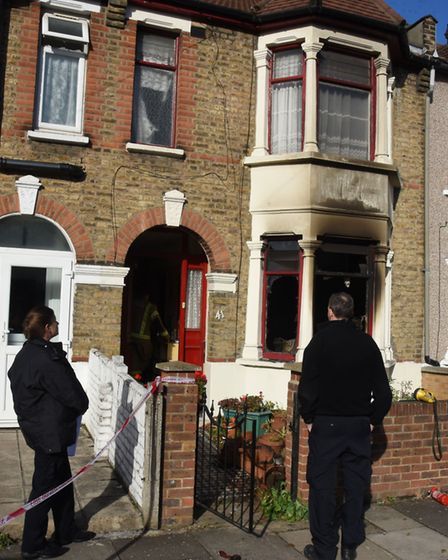 The scene of the house fire in Herbert Road, Seven Kings, where a man has died of his injuries.