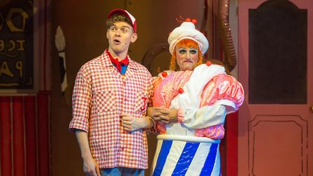 James William-Pattison and John Barr at the Queen's Theatre's Jack and the Beanstalk. Photo: Mark Se