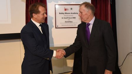 David Ross and Sir Geoff Hurst unveiling the plaque. Picture: Ken Mears