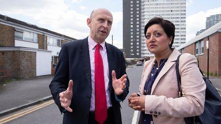 Mayor of Newham Rokhsana Fiaz met with John Healey MP on the Carpenters Estate in May. Picture: Andr
