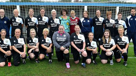 NEW KIT: Kirkley and Pakefield Ladies line-up in their new training kit. Pictured in the centre of t