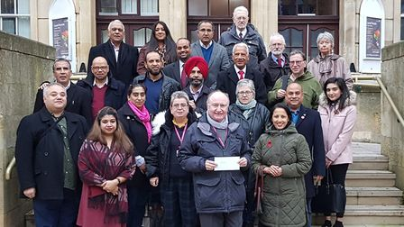 A group of Redbridge Labour councillors, including council leader Cllr Jas Athwal, protesting agains
