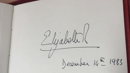 The book signed by Queen Elizabeth II at the opening of Newham University Hospital. Picture: Barts H
