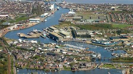 Picture shows: Lake Lothing looking towards Lowestoft Harbour and town.Mandatory picture credit: Mik