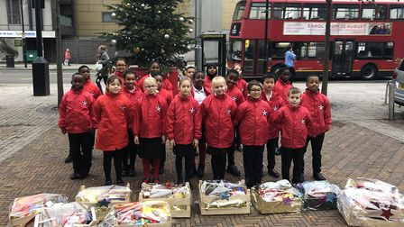 Year 4 students from Star Lane Primary with their hampers. Picture: Star Lane Primary