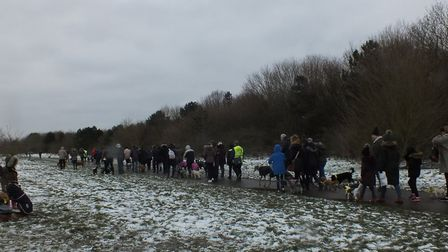 Pets and their owners braved the snow to take part in the Woof and Walkies Dog Walk in Hornchurch Co