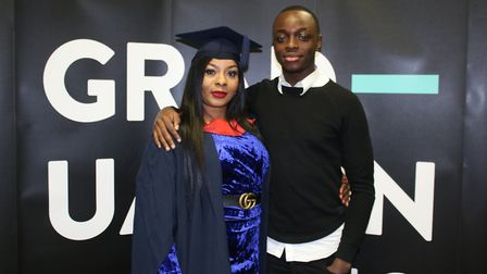 Rita Abifade and her son Godwin at the graduation ceremony. Picture: UEL