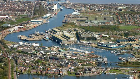 Lake Lothing looking towards Lowestoft harbour and town. Picture: Mike Page.