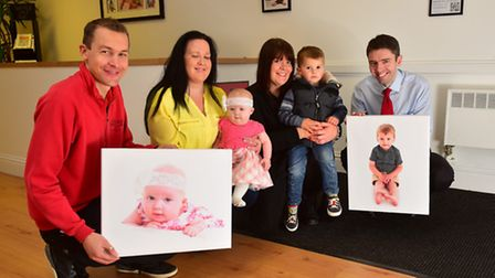 Lowestoft Bonny babies competition winners.Matt Goddard (picture studios), Clair Ford with Akira, Sa