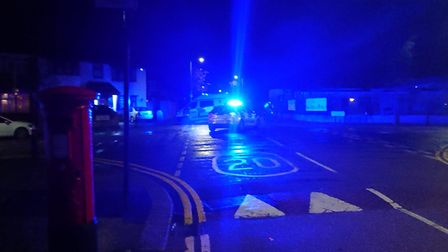 Blue lights filled the junction at Lord Avenue