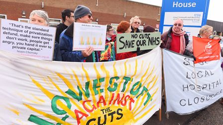 Protest outside Beccles House, Great Yarmouth and Waveney Clinical Commissioning Group as governors