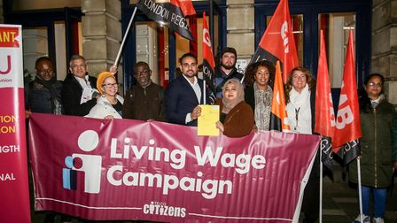 Councillors and campaigners celebrate the London Living Wage motion being passed. Picture: Cllr Mas