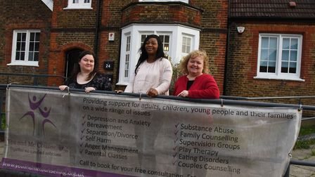 Staff at You and Me Counselling in Hornchurch. Jenna Altringham, Bolaji Olagunju and Paula Sewell.