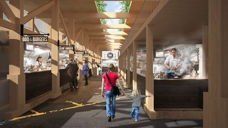 A mock up of the covered market in Ilford. Picture: Interrobang Architecture and Engineering