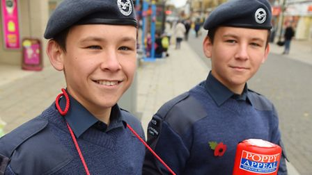 Launch of the Poppy Appeal in Lowestoft town centre. Brandon and Thomas Dutton from the Air Training