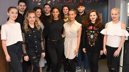 The Saturday's Rochelle Humes with students at the CPA Studios in Romford.