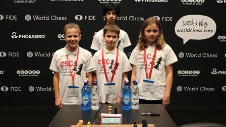 Gallions Primary School pupils at the World Chess Championship. Picture: Tao Bhokanandh