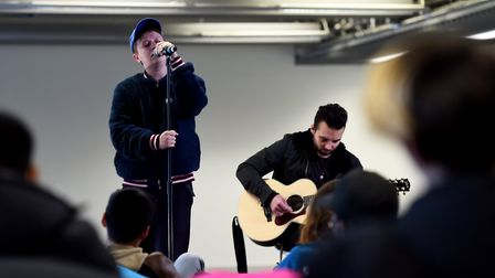 Nothing But Thieves perform for students. Picture: James Veysey