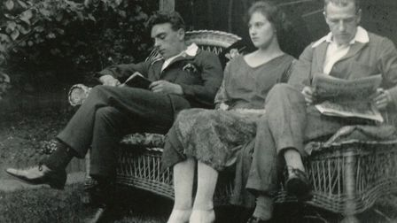 Edith, her husband and her lover on a bench in their Ilford garden. Picture: Rene Wilson
