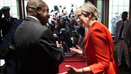 Prime Minister Theresa May meets South African president Cyril Ramaphosa. Photo: Stefan Rousseau/PA