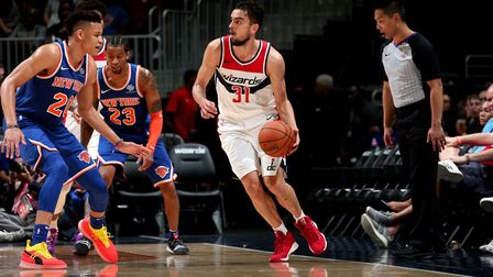 Tomas Satoransky of the Washington Wizards shoots the ball against the New York Knicks during pre-se