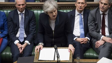 Theresa May in the House of Commons after the meaningful vote. Photograph: PA Images.
