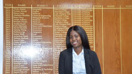 Dorcas Shodeinde has received an offer to study law at St Catherine's College, Oxford. Picture: Sam