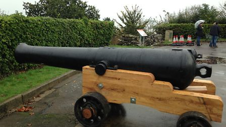 Refurbished cannons being installed at the war memorial in Belle Vue Gardens. Picture: George Ryan