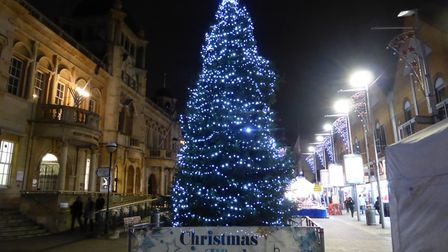 The Christmas tree in all its glory in Ilford town centre. Picture: Dharam Sahdev