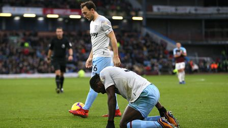 West Ham United's Mark Noble (left) and Michail Antonio appear dejected during the Premier League ma