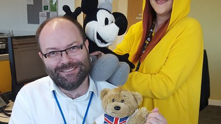 Waveney District Council staff support Children in Need. Paul Dent and Carrie Read are pictured with
