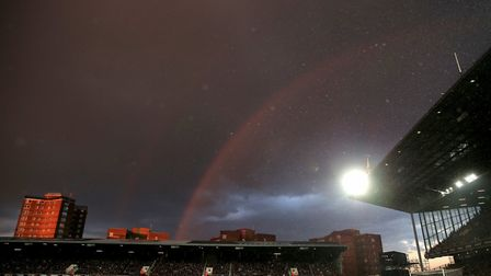 A rainbow above the ground during the Emirates FA Cup, Quarter Final Replay match at Upton Park, Lon