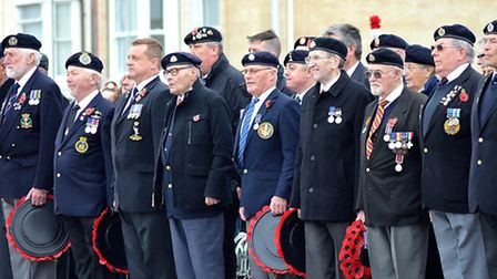 The Remembrance Day service in Lowestoft held at the town's war memorial on Royal Plain. Photos: Mic
