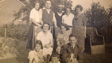 Back row, from left to right, Dennis's sister Margerie Dimond, Burt Pimm, his dad Percy Dimond, his