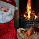 A mince pie, glass of sherry and a carrot for a reindeer is left by a fireplace. Photo: PA