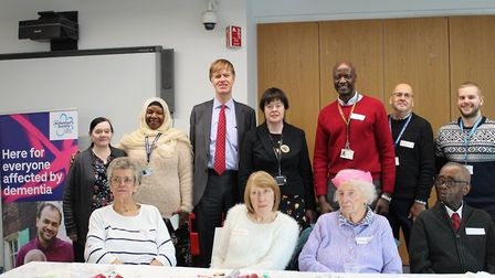 Stephen Timms MP (third left) and cllr Susan Masters (centre) met with Alzheimer's Society staff and