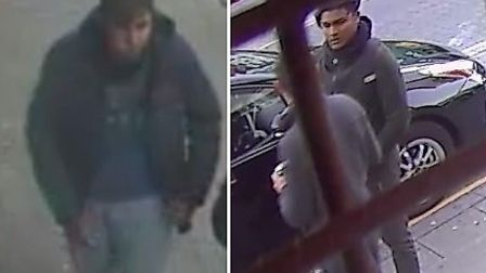 Police would like to speak to these two suspects in connection with the robbery. Pic: Met Police.
