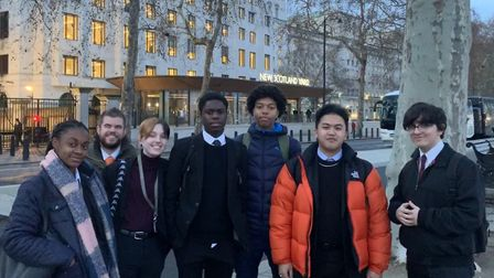 The Sixth formers outside Scotland Yard. Picture: St Bon's