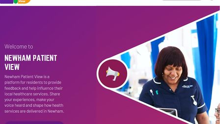 The new online platform to leave feedback on health services, Newham Patient View. Picture: Newham C