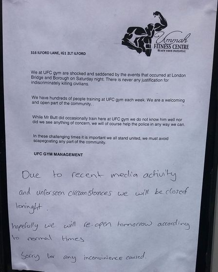 The Ummah Fitness Centre posted a note on the door after the terrorist incident. Picture: Ken Mears