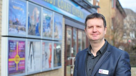 East Coast cinema, Lowestoft have now been open one year on from the floods.Michael Hansell outside