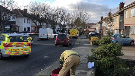 Police in Larchwood Avenue in Collier Row. Photo: Collier Row - what's going on