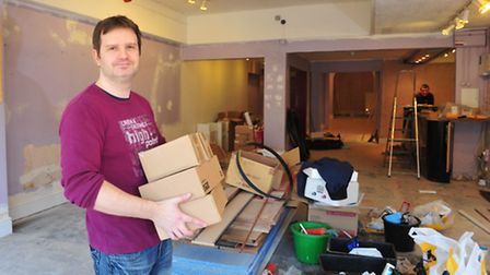 East Coast Cinema manager Michael Hansell inside the building that was badly damaged by the recent f
