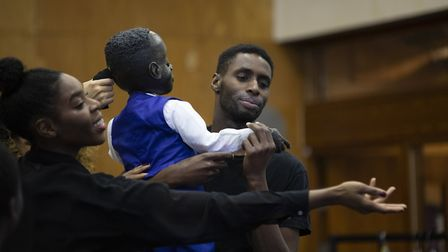 Joseph Adelakun as Leontes and Wreh-Asha Walton as Hermione in rehearsals for The Winter's Tale. Pic