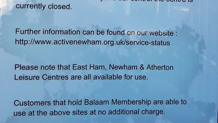 The Balaam Leisure Centre in Plaistow remains closed